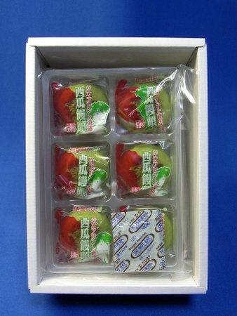 しいの食品西瓜饅頭の箱の中身、6個入り