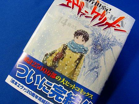 エヴァンゲリオン第14巻・完結、表紙。雪の降る中佇むシンジのイラスト