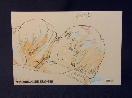 カラー原画展プレゼントポストカード、寝そべるシンジ