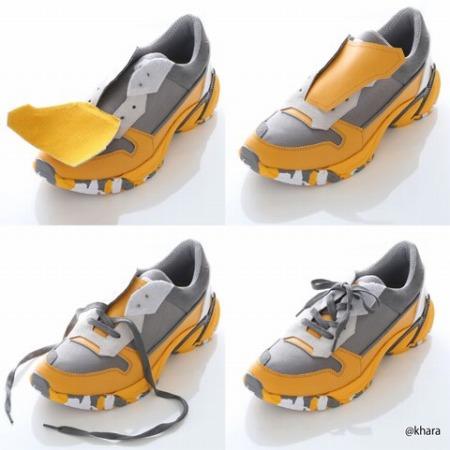 甲部分のタンを2重にすることで、靴紐を使用しなベルクロ仕様のスニーカーにもできる