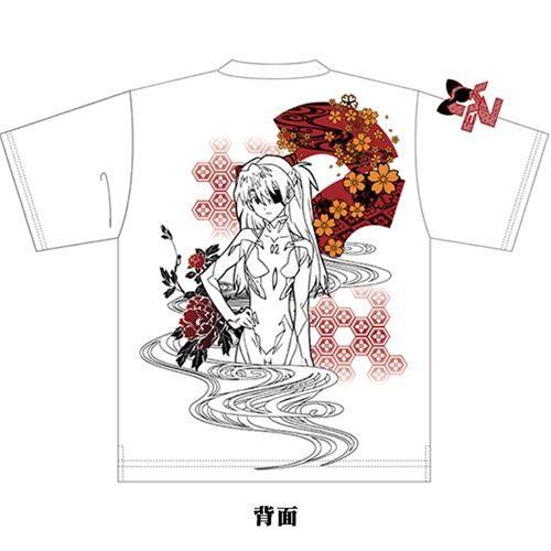 EVA×錦 扇桜と眼帯アスカ Tシャツ/白/M オリエンタルブランド「錦」