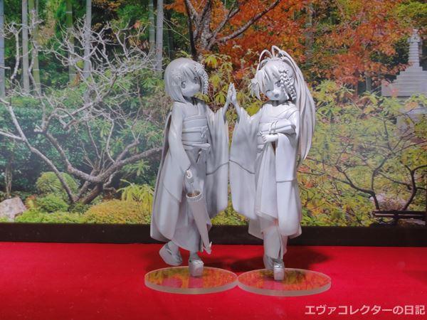 ワンフェスに展示されていたまどかマギカに登場する杏子とさやかの着物フィギュア