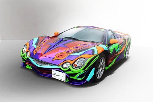光岡自動車によって製作された「セブン-イレブン限定 光岡自動車エヴァンゲリオン オロチ