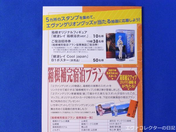 エヴァと箱根町のコラボ企画「箱根補完マップスタンプラリー」の抽選で当たるエヴァグッズ各種
