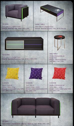 インテリアブランドsongdreamとのコラボにより発売されるエヴァカラーのソファやテレビボードなど