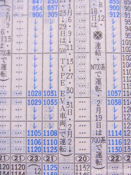 エヴァ新幹線「500 TYPE EVA」の時刻表