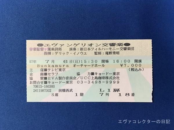 1997年の『エヴァンゲリオン交響楽』入場チケット