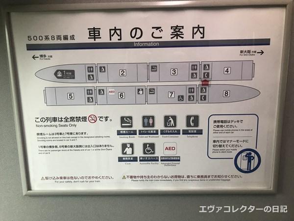 エヴァ新幹線の車両案内板